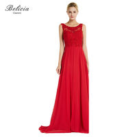 Belicia Couture Women Red Evening Dresses Chiffon Appliques Beading Elegant Party Dresses Floor Length Open Back