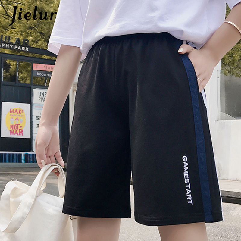 Jielur Black Shorts High-Waist Summer Femme Casual Women Ladies New Hipster Damskie Loose