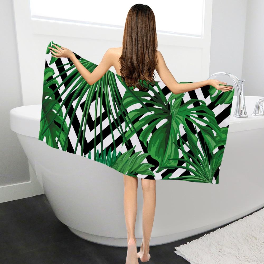 Rectangle Swimming Bath Towel Summer Tropic Leaves Pattern