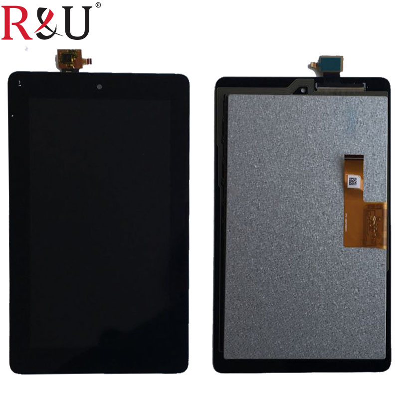 R&U high quality 7 LCD Display + Touch Screen panel Digitizer Assembly Replacement For Amazon Kindle Fire 2015 HD5 HD 5 SV98L high quality 5 0 for highscreen power rage lcd display touch screen glass digitizer assembly replacement free shipping