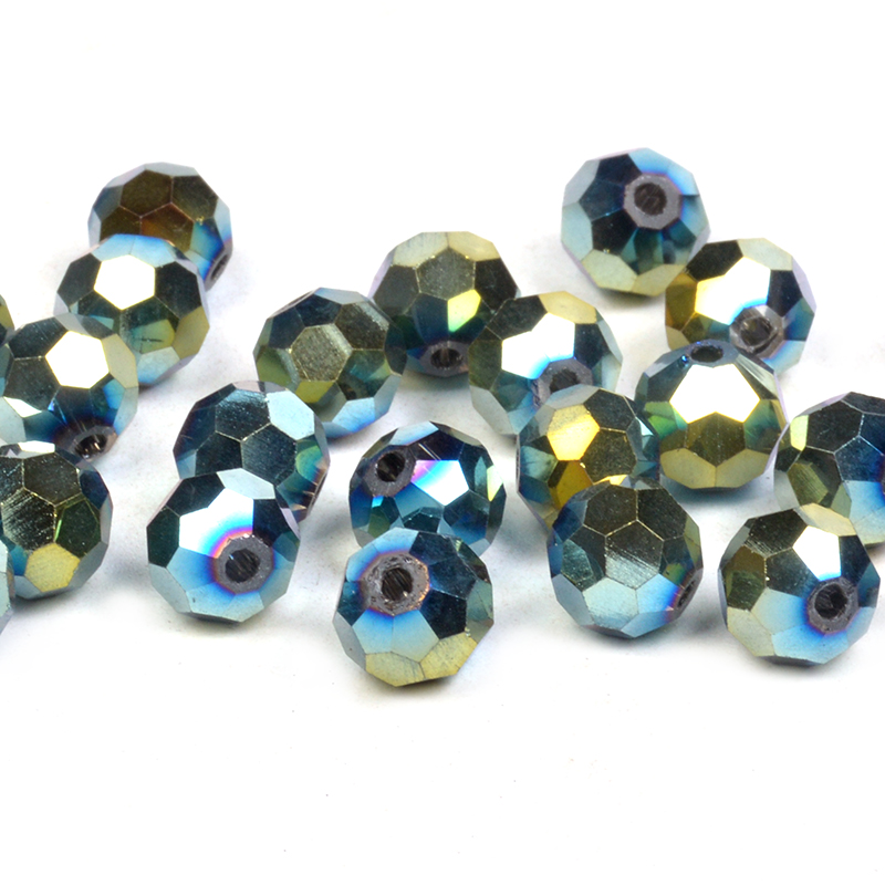 50pcs 8mm dark blue and silver plated round glass beads jewellrty making craft U