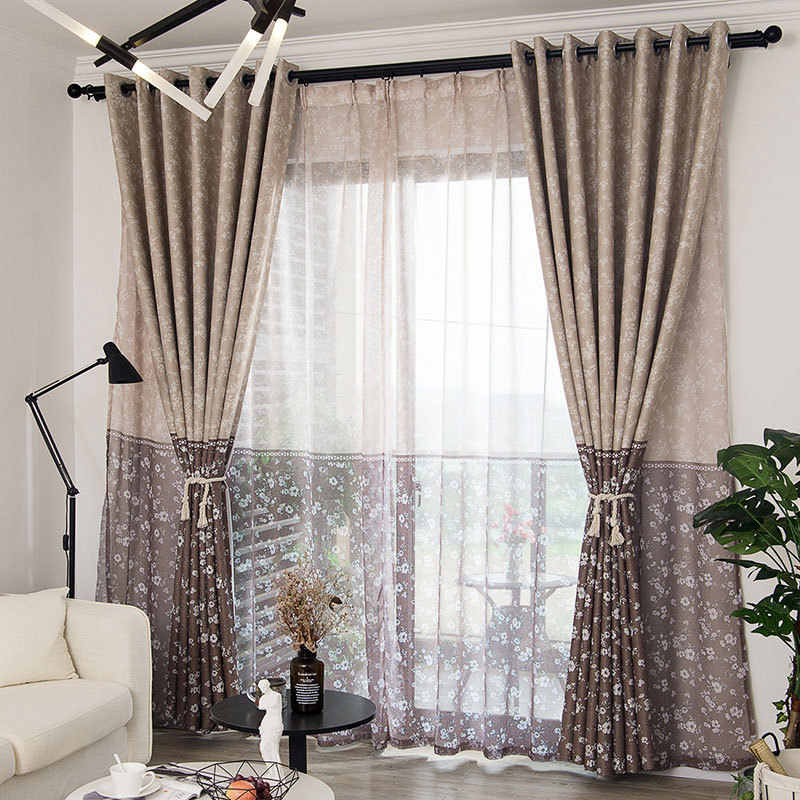modern floral printed blackout curtains for living room pastoral design two tone curtains for bedroom window curtain treatment