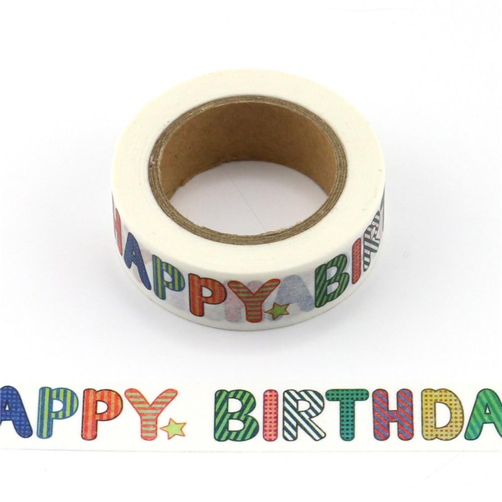 Washi Tape Paper Happy Birthday Japanese Stationery Kawaii Sticker Scrapbooking Tools Masking Tape Diy Photo Album
