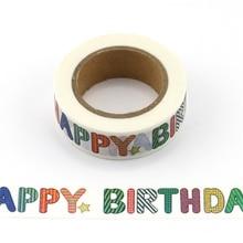 Washi Tape Paper Happy Birthday Japanese Stationery Kawaii Sticker Scrapbooking Tools Masking Tape Diy Photo Album цена