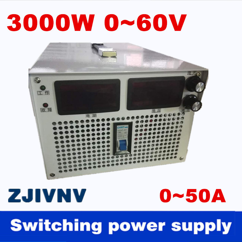 цена на 3000W 0-60v 0-50A Output current&voltage both adjustable Switching power supply AC-DC For industry, led light, Laboratory power