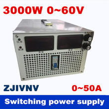 3000W 0-60v 0-50A Output current&voltage both adjustable Switching power supply AC-DC For industry, led light, Laboratory power