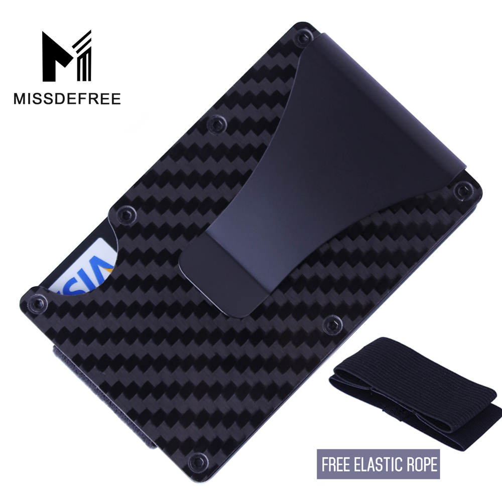Carbon Fiber RFID Mini Slim Wallet Money Clip Metal Aluminum Business Credit Card ID Holder With Anti-chief Case Protector(China)