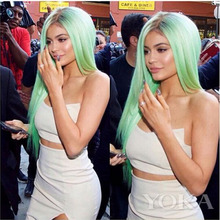 Kylie Jenner Christmas mint green ombre wig dark brown long straight synthetic lace front wig heat resistant fiber wig