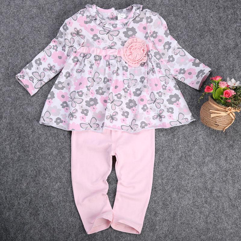 princess dress 2pcs Baby Girl Kid clothing set Newborn T-shirt Floral Peplum Dress+Pants Trousers 2pcs Clothing Outfit Set