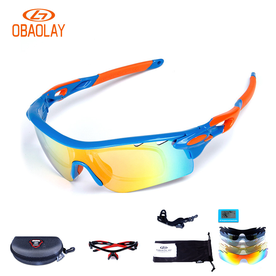 2017 OBAOLAY 5 Lens Bike Glasses Polarized Anti-fog TR90 Material Sports Eyewear Bicycle Goggles Cycling Sunglasses Red Blue