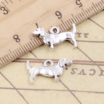 30pcs Charms Dog 10x18mm Tibetan Bronze Silver Color Pendants Antique Jewelry Making DIY Handmade Craft 50g 100g letters mixed charms pendants vintage antique bronze silver bracelets necklaces craft metal alloy diy jewelry making