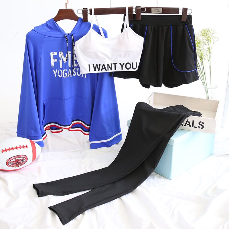 Four Pieces Women Sportswear Letters Loose Hoodie Bra Tight Leggings Shorts Yoga Sets Dancing Gym Clothes