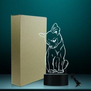 Image 5 - 귀여운 작은 개 치와와 품종 초상화 3D 착시 야간 조명 색상 변경 동물 애완 동물 강아지 침실 테이블 램프