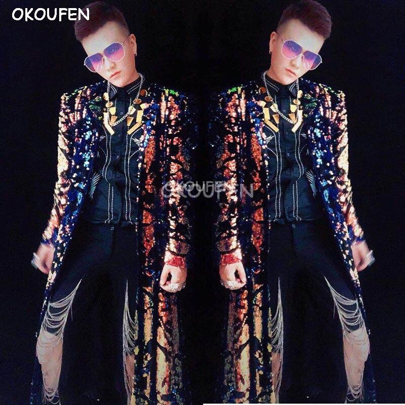 Nouvelle mode mâle chanteur DJ danseur discothèque bar magique long parapluie manteau costume partie spectacle scène performance veste - 3