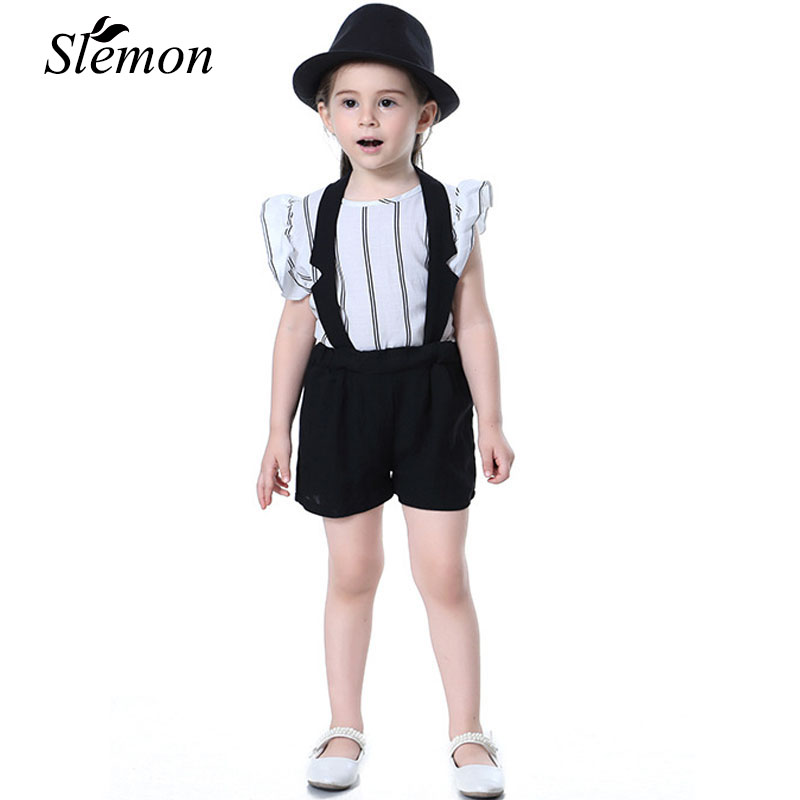 Toddler Girl Shirts + Halter Shorts Simple Style Suit 2018 Summer Children Kid Costume Formal Striped Shirt Pants Outfit Clothes