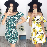 2017 Summer Women Casual Fashion Dresses Casual Print Off Shoulder Ruffles Mini Butterfly Sleeve Slash Neck Dress Vestidos
