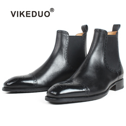 VIKEDUO Autumn New Men's Chelsea Boots Slip-on Black Genuine Cow Skin Handmade Brogue Patina Blake Ankle Leather Boots For Men