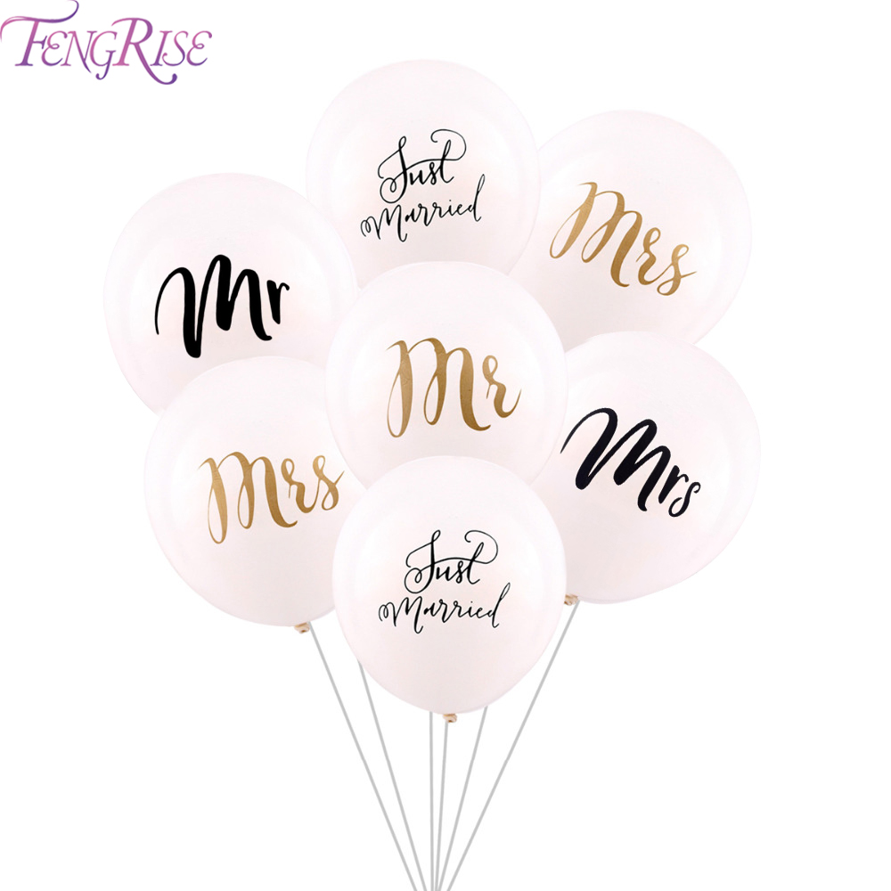Fengrise 10 Pcs Mrs Mr Just Married Latex Balloons Wedding Event Party Decoration Bride To Be