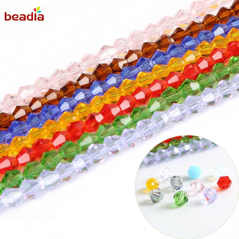 Wholesale 3mm 145Pcs Rondelle Faceted Pointed Beads Glass Crystal Beads For Jewelry Making DIY Crafts Sewing Clothes Accessory