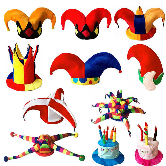 Placeholder Funny Colorful Clown Hat Cute Elf Birthday Caps Children Adults Men Women Stage Performance Dance