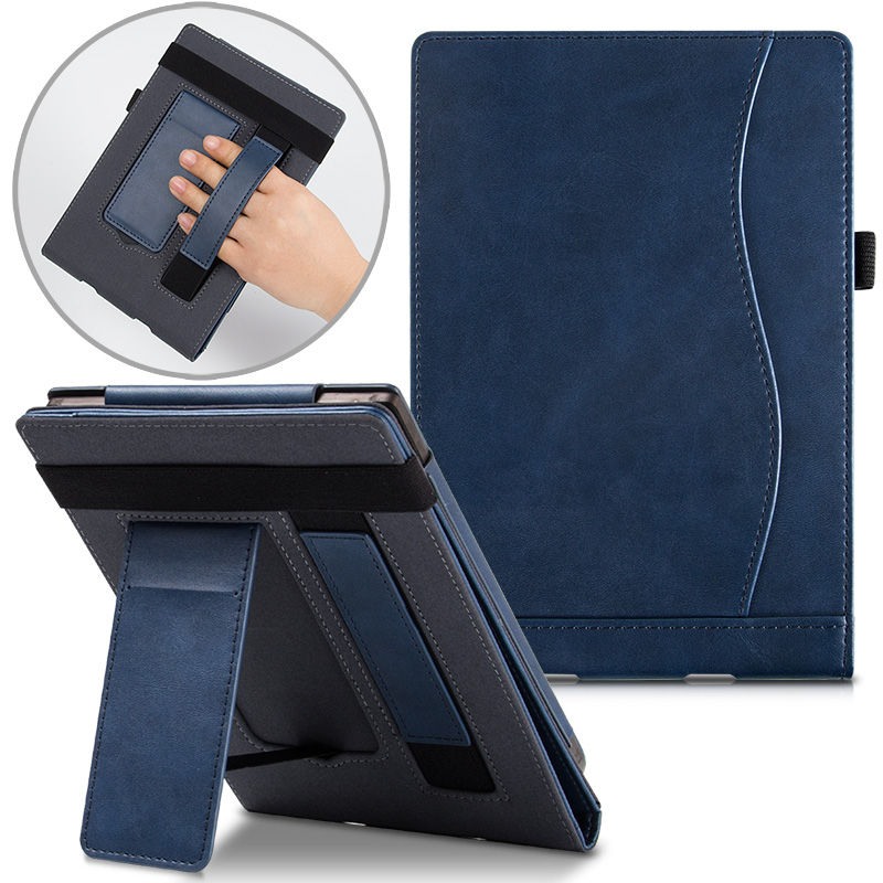 AROITA Stand Case For Pocketbook 616 627 632 EReader, Touch Lux 4/Basic Lux 2/Touch HD 3 PU Leather Smart Cover With Hand Strap