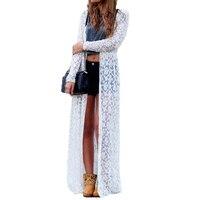 New 2016 Spring Blusas Fashion Women Lace Crochet Long Sleeve Beach Open Kimono Cardigan Long Blouses