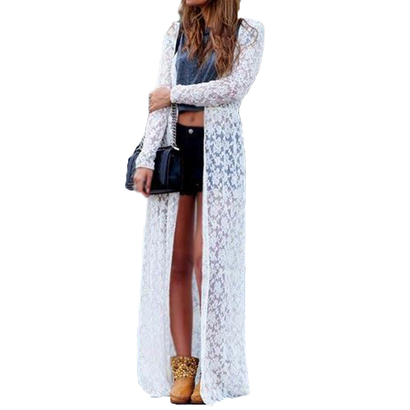 2018 Kvinnor Outwear Lace Crochet Blusas Long Sleeve Beach Kimono Kofta Casual Lös Långblå Solid Tops Plus Size Shirt