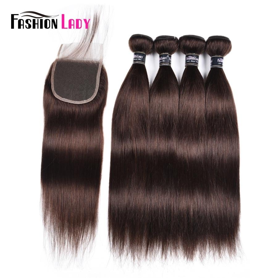 Модные женские предварительно Цветной 4bundles с закрытием кружева 2 # натуральный коричневый Цвет перуанский прямо человеческих волос -Волосы ...