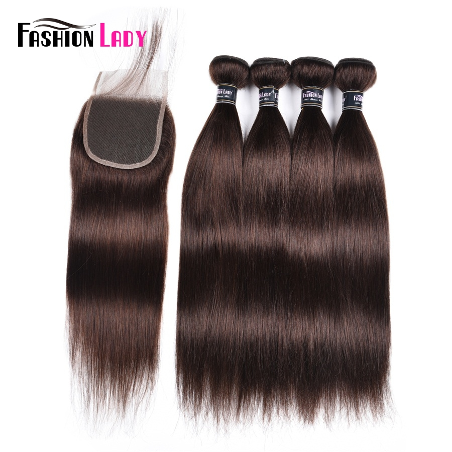 Fashion Lady Pre-Colored 4 Bundles With Lace Closure 2# Natural Brown Color Peruvian Straight Human Hair Products Non-Remy Hair