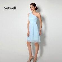 Setwell простое светло-голубое платье подружки невесты летнее шифоновое пляжное свадебное платье на одно плечо длиной до колена короткое платье невесты
