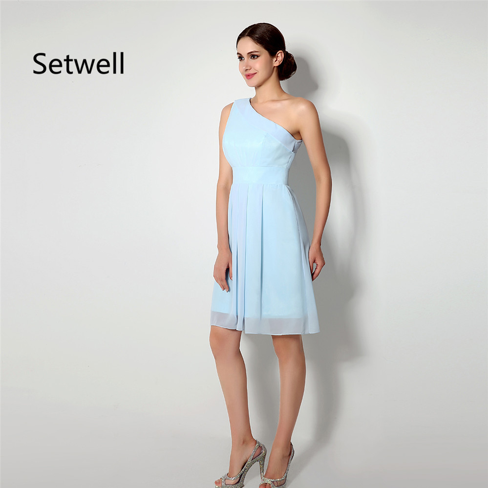 Setwell simple light blue bridesmaid dress summer chiffon beach setwell simple light blue bridesmaid dress summer chiffon beach wedding gowns one shoulder knee length short bridesmaid dress in bridesmaid dresses from ombrellifo Image collections