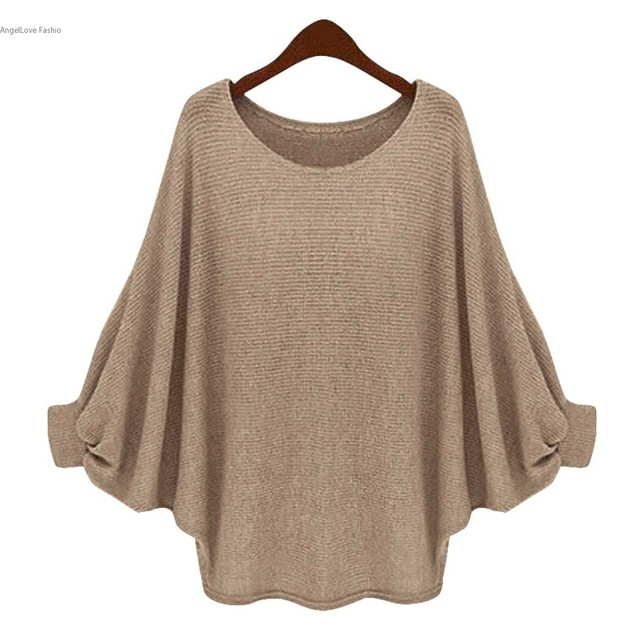 Stylish Women Autumn Tops 2016 Batwing Long Sleeve O-Neck Loose Sweaters  Casual Ladies Pullover