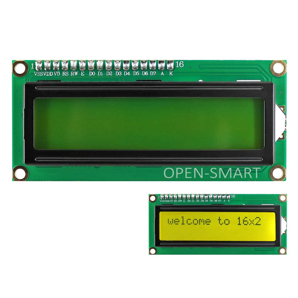OPEN-SMART 3.3V I2C /IIC 1602 LCD Yellow-green Display Module Onboard Contrast Adjustment Potentiometer for Arduino /RaspberryPi