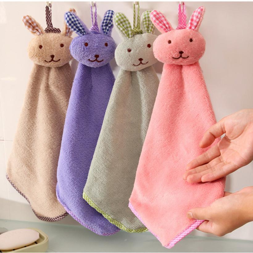 1PC Baby Hand Towels Cartoon Animal Rabbit Plush Kitchen Bathroom Soft Hanging Bath Wipe Towel D1221