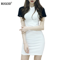 Rugod 2017 Sexy Bodycon Bandage Dresses Women High Quality Full Cotton Dresses Women Panelled O-neck Party Dress Vestidos Mujer