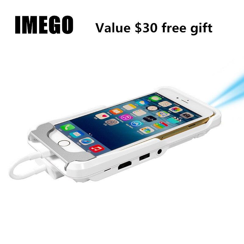 Mini TV Micro DLP Wifi Portable poche LED Smartphone projecteur Pico HD vidéo 1080 P HDMI pour iPad iPhone 6 7 8 X Plus blanc IOS