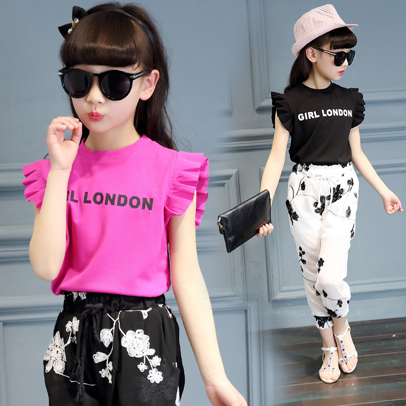 2017 Summer Style Baby Girls Clothing Sets Toddler Kid Clothes Sets Floral Print T-Shirt + Pants Casual Suits 5 6 7 8 9 10 13 14 baby girls summer suits sleeveless vest shirt cute floral harem pants floral sets