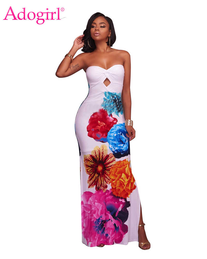 7e1a2c73030 Adogirl Flowers Print Strapless Maxi Dress Sweetheart Twist Keyhole Side  Slit Bodycon Evening Party Dresses Robe