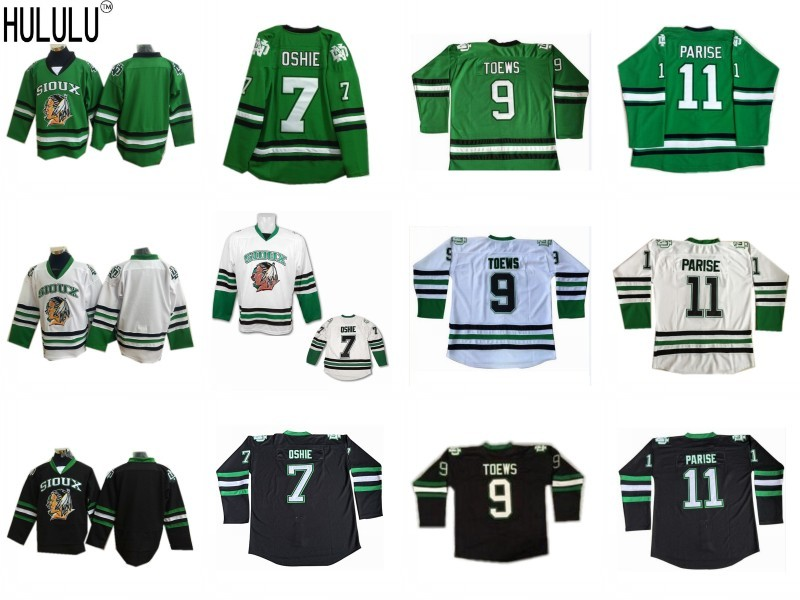 11 Zach Parise  9 Jonathan Toews  7 T.J. TJ Oshie North Dakota Fighting  Sioux White Black Green Ice Hockey Jersey 710cfe2b3ef