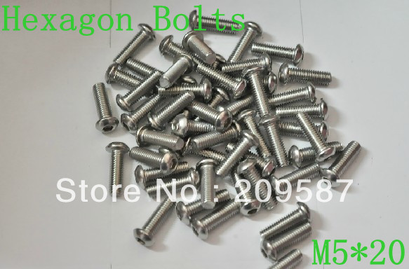 50pcs Metric Thread <font><b>M5x20mm</b></font> Stainless Steel inside Round Hexagon Bolts Screws image