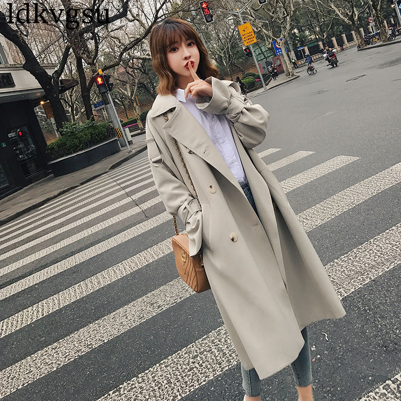 Nuevo 2019 niñas primavera otoño gabardina mujer largo coreano suelto rompevientos abrigo Casual Chic ropa de abrigo V242-in Zanja from Ropa de mujer    1
