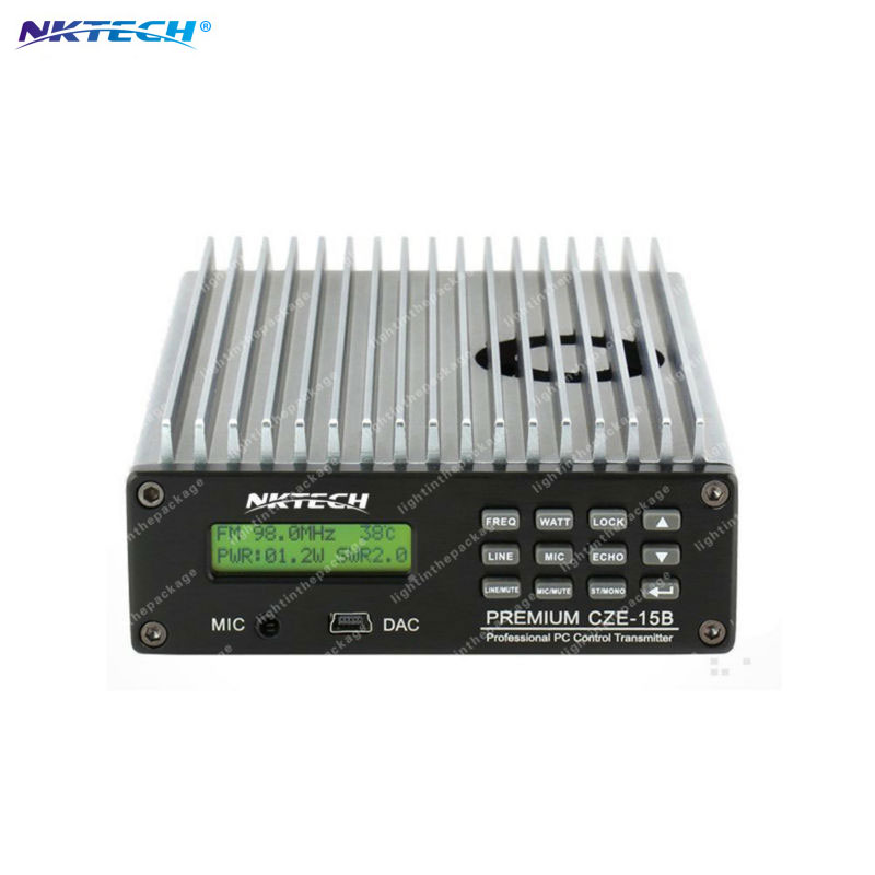 NKTECH CZE-15B Adjustable 0.3W~15W 87MHz~108MHz  With PC Control FM Transmitter Broadcast Radio Station Stereo LCD Backlight cze 7c 7watt stereo lcd broadcast radio station fm transmitter 12v adapter antenna cable