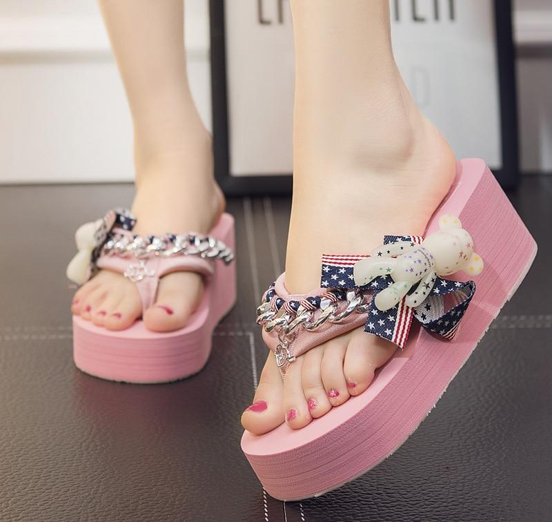 2018 European Thick Bottom Cartoon Bear Slippers Flip Flops Handmade Slippers Female Summer Slope with Flip Flops Womens Shoes