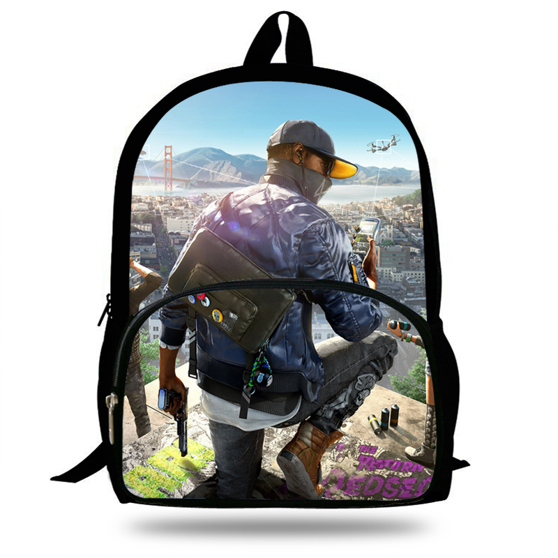 cae92c5a1bf7 Hot 16inch Hot Sale Games Print Bags For Teenagers Watch Dogs Backpack For  Kids Girls Boys Casual Bags For Children Students