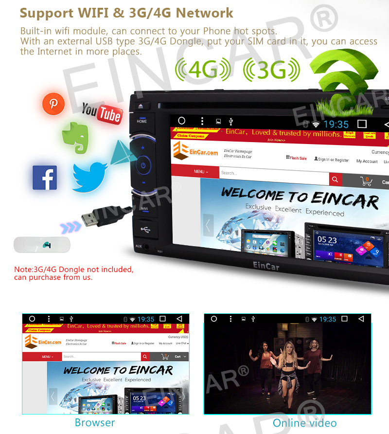 Android 6.0 Car Stereo gps 1080P Multi-Touch Screen Bluetooth Autoradio Mirroring Support DVD CD Player USB /SD WIFI Radio FM