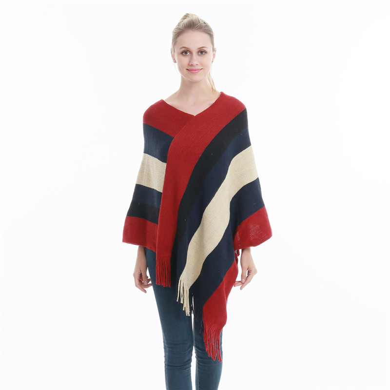 Winter Women Knitted Poncho Tassel Thick Sweaters Pullover Casual Scarf Batwing Sleeve Jumper Striped Sleeveless Plus Size