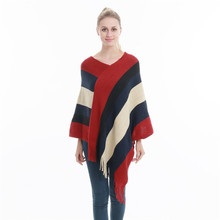 цена на Winter Women Knitted Poncho Tassel Thick Sweaters Pullover Casual Scarf Batwing Sleeve Jumper Striped Sleeveless Plus Size