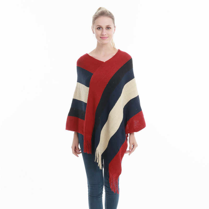 70dd4467361c45 Winter Women Knitted Poncho Tassel Thick Sweaters Pullover Casual Scarf  Batwing Sleeve Jumper Striped Sleeveless Plus