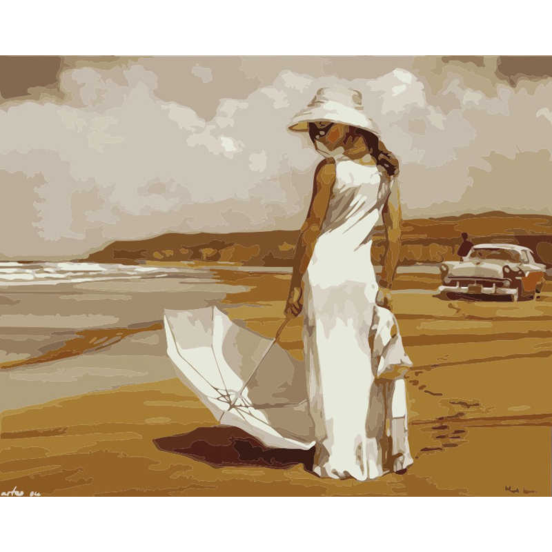 Diy painting by numbers frameless paint drawing coloring by numbers on canvas hand painted picture Beautiful woman by the sea