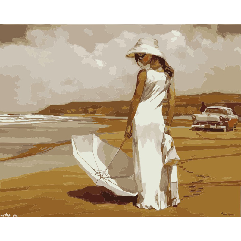 Diy painting by numbers frameless paint drawing coloring by numbers on canvas hand painted picture Beautiful woman by the sea thumbnail